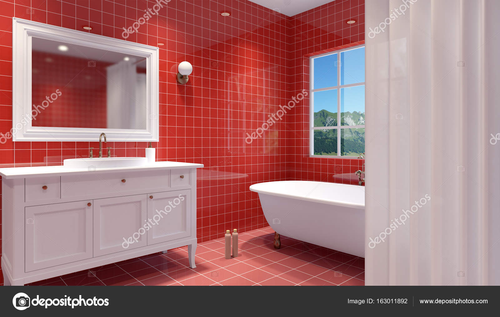 Interior del cuarto de baño pequeño y moderno. Render 3D ...