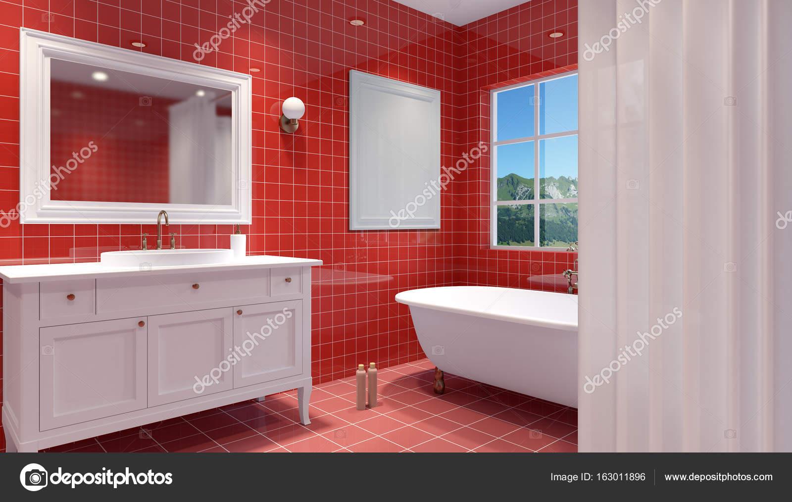 Interior del cuarto de baño pequeño y moderno. Render 3D — Foto de ...