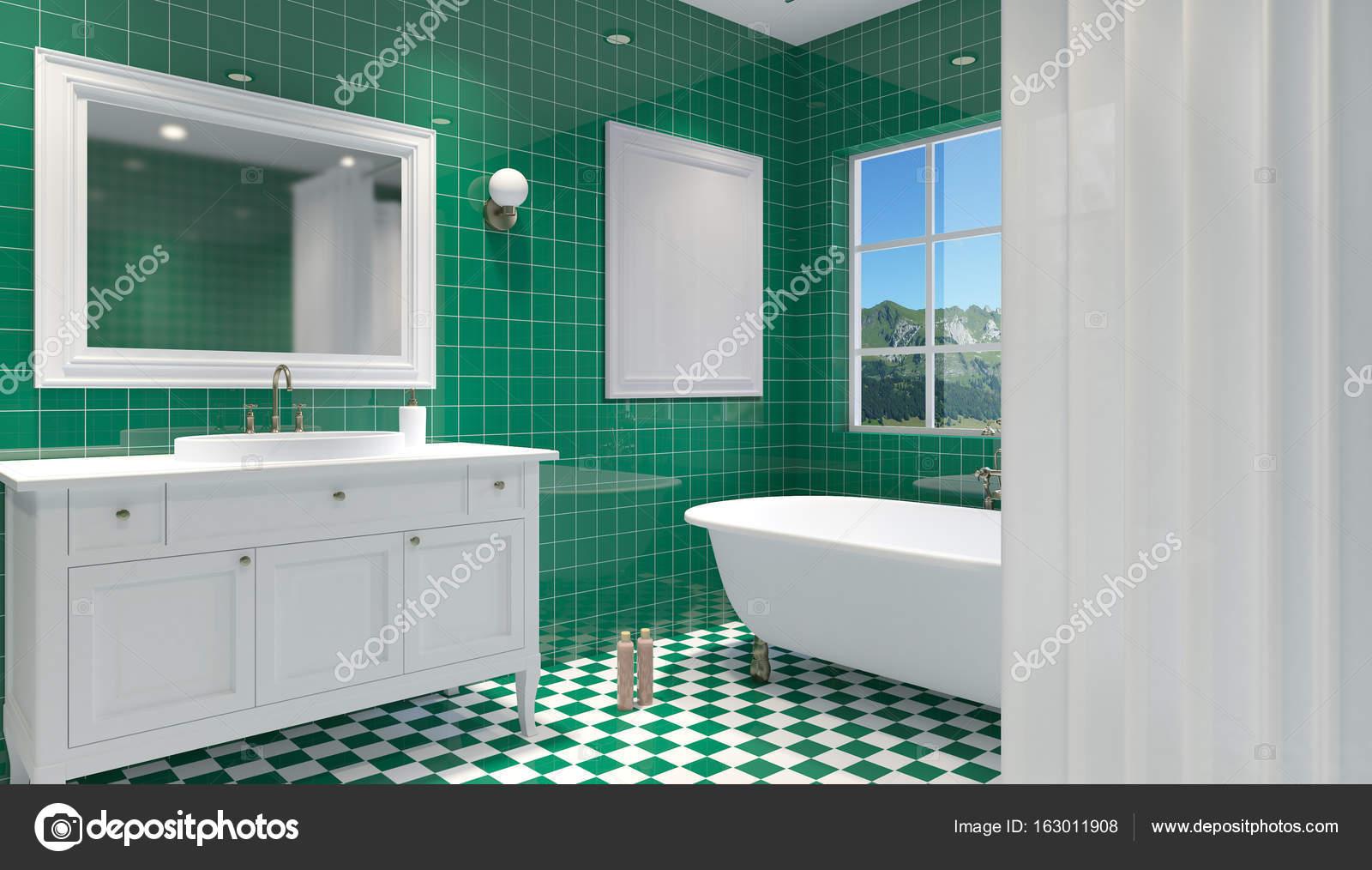 Interior del cuarto de baño pequeño y moderno. Render 3D — Fotos de ...