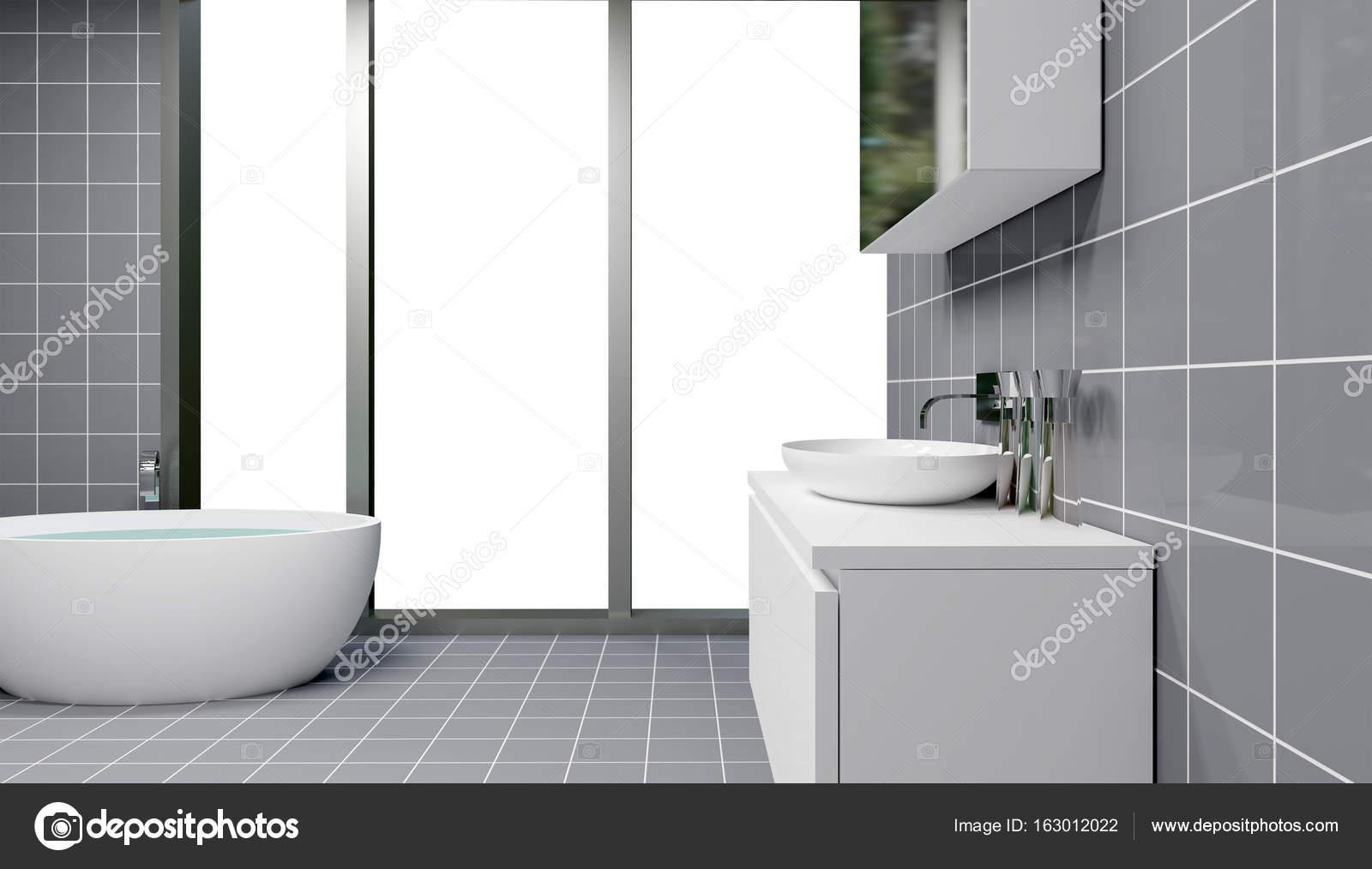 Freistehende Badewanne im modernen Badezimmer, 3D-Rendering ...