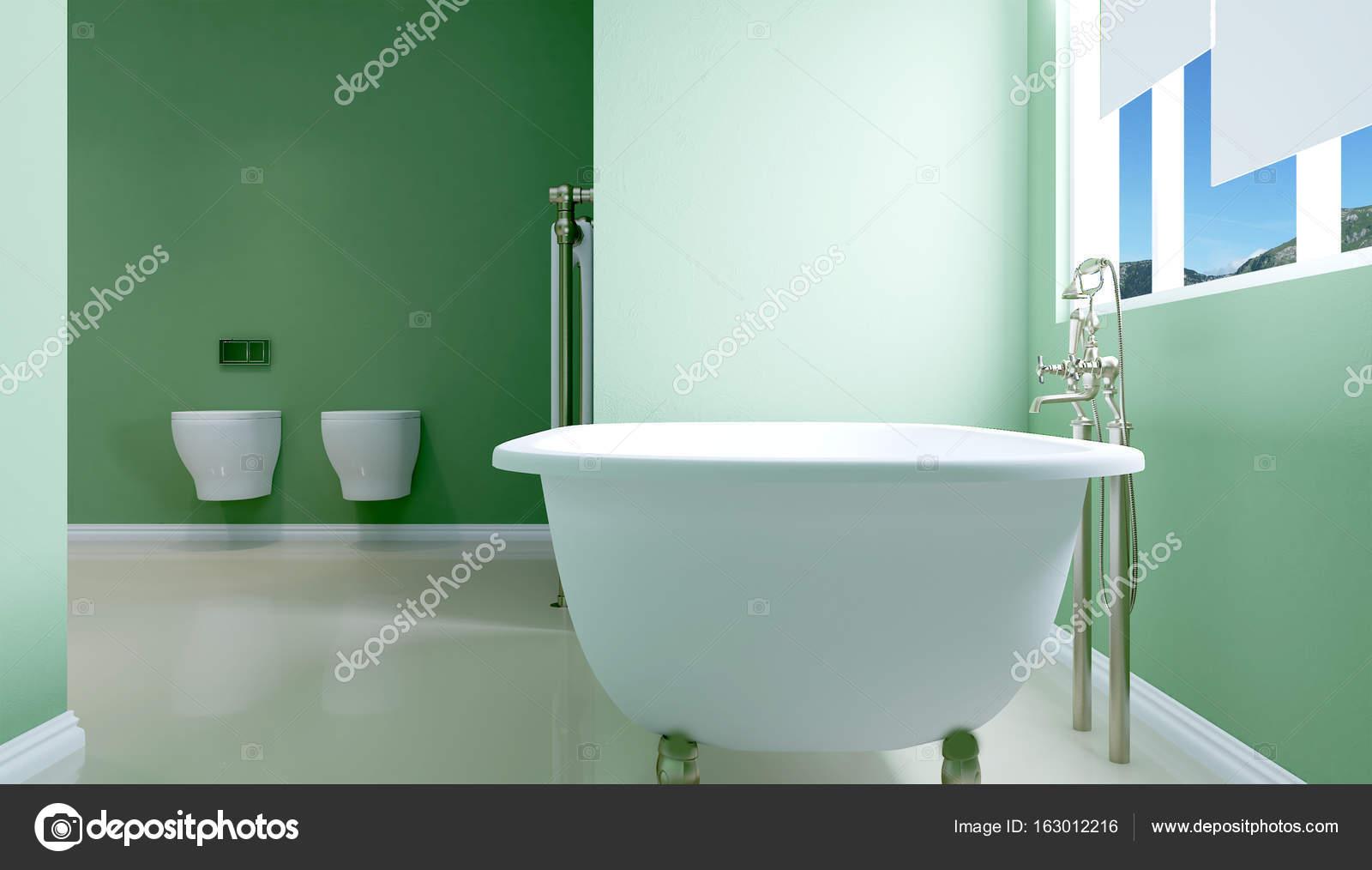 Innenansicht der schönen Luxus-Badezimmer. 3D-Rendering — Stockfoto ...