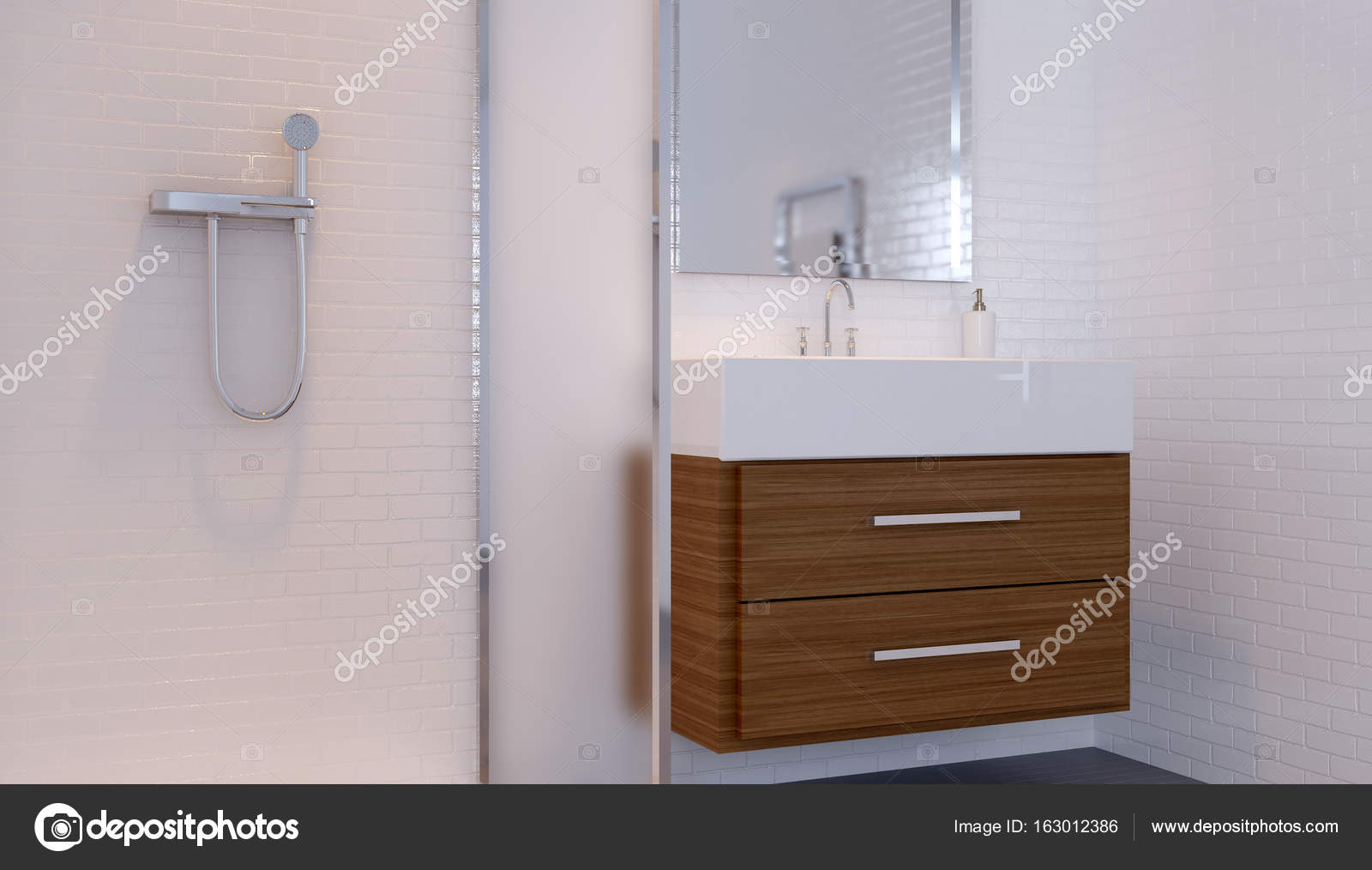 Badezimmer in Grautönen mit Fußbodenheizung. 3D-Rendering ...