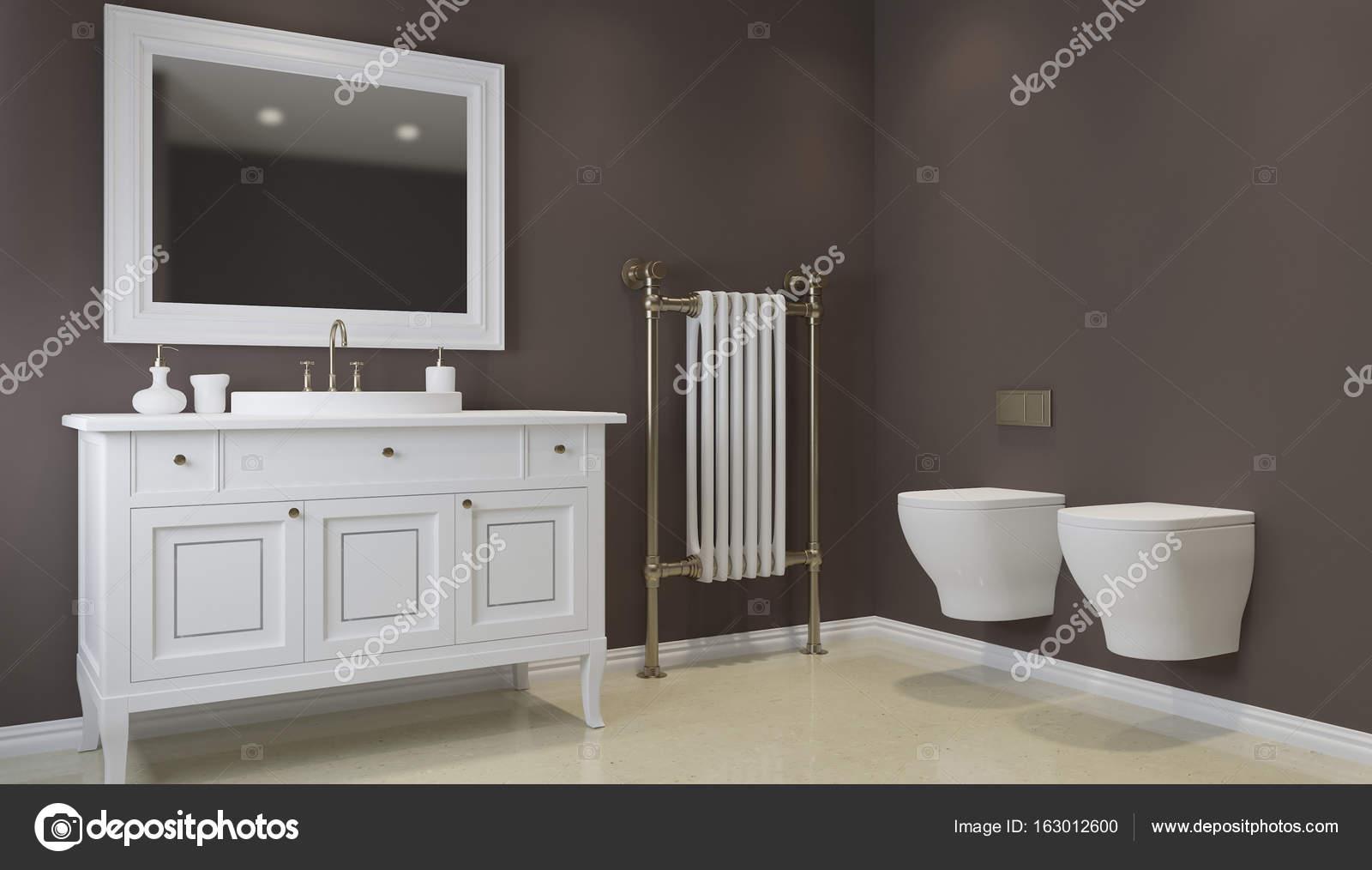 Salle de bain dans les tons de gris avec chauffage au sol. rendu 3D ...