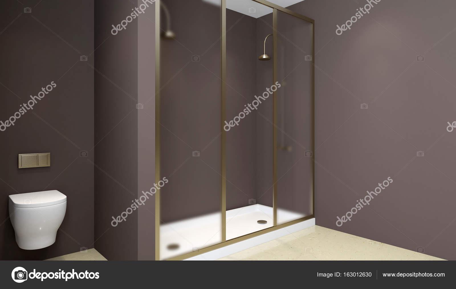 Moderne badkamer interieur met glazen deur douche. 3D-rendering ...