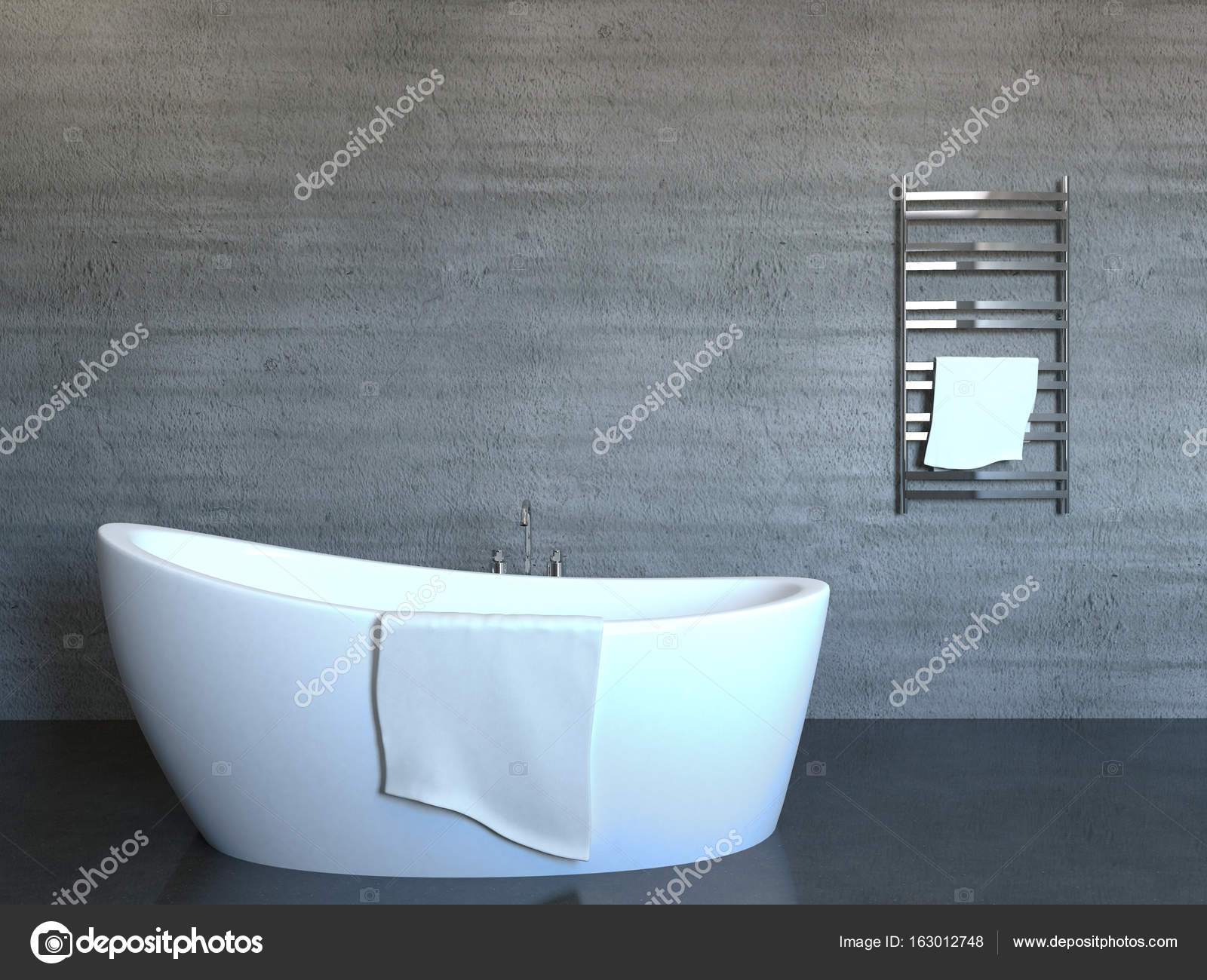 Concrete tiles in modern, spacious bathroom. 3D rendering — Stock ...