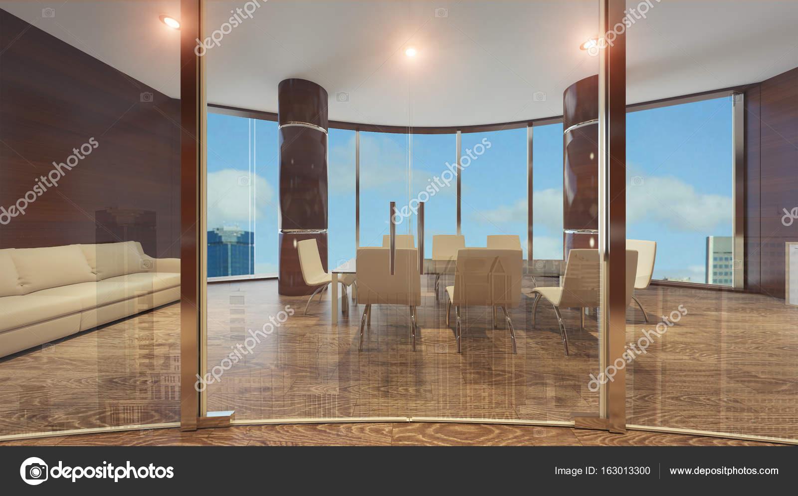Cloison de mur de verre dans les bureaux modernes u photographie