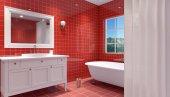 Interiér je malé, moderní koupelna. 3D vykreslování