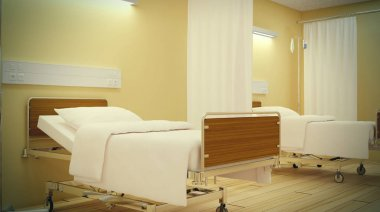 The interior of the hospital room. Empty room.