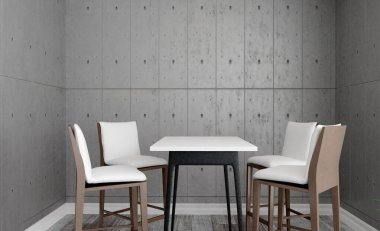 View of the meeting room. Table and chairs. Concrete walls. Open space. 3D rendering
