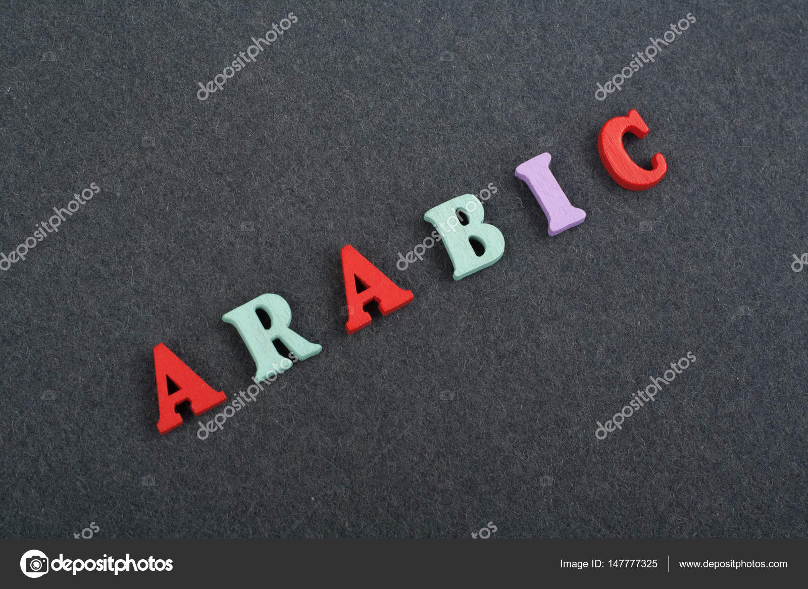 ARABIC word on black board background composed from colorful abc
