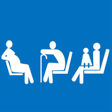 Priority seating for pregnant women, woman with baby and seniors