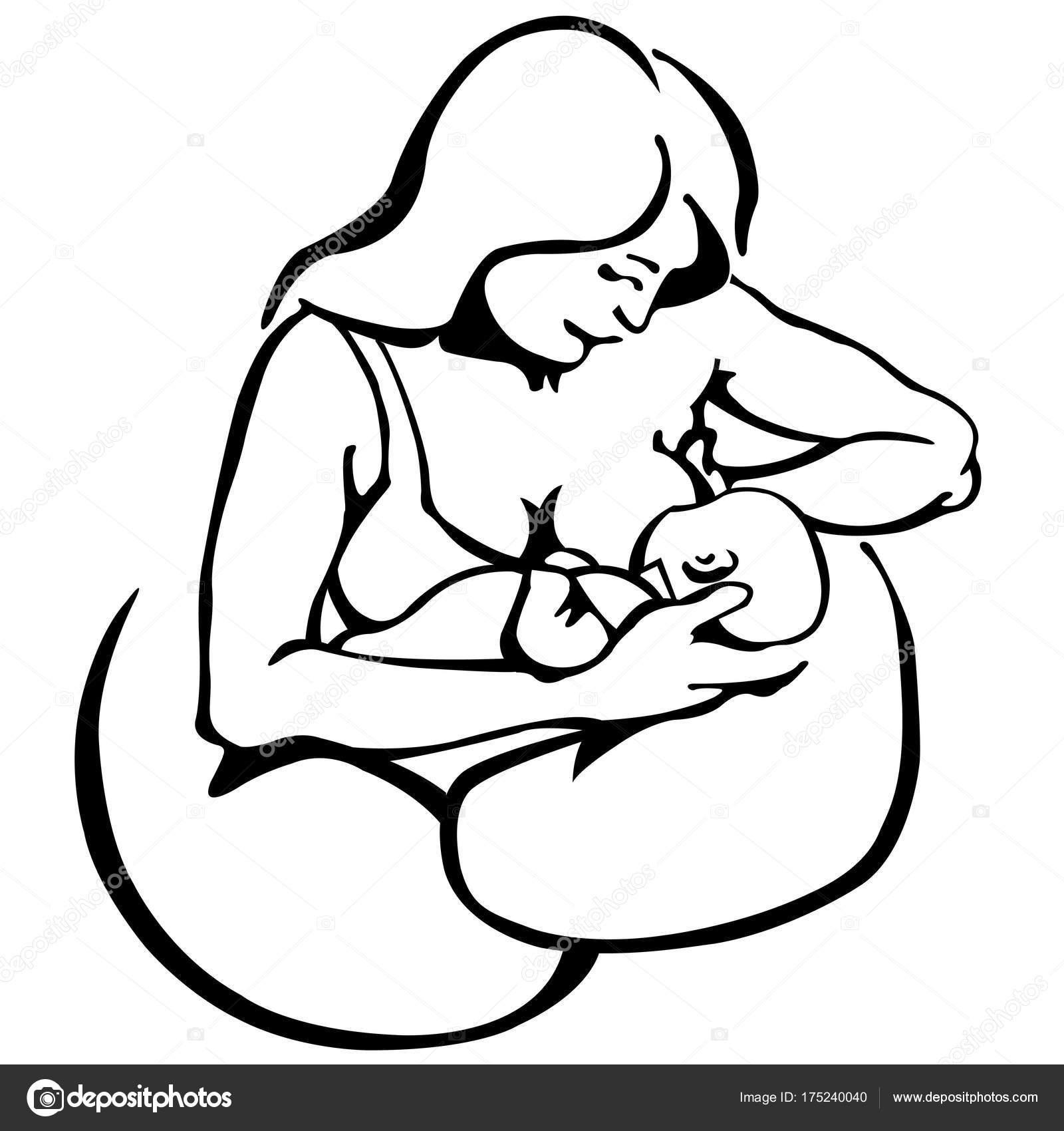Imágenes Madre Amamantando A Su Bebe Para Dibujar Lactancia