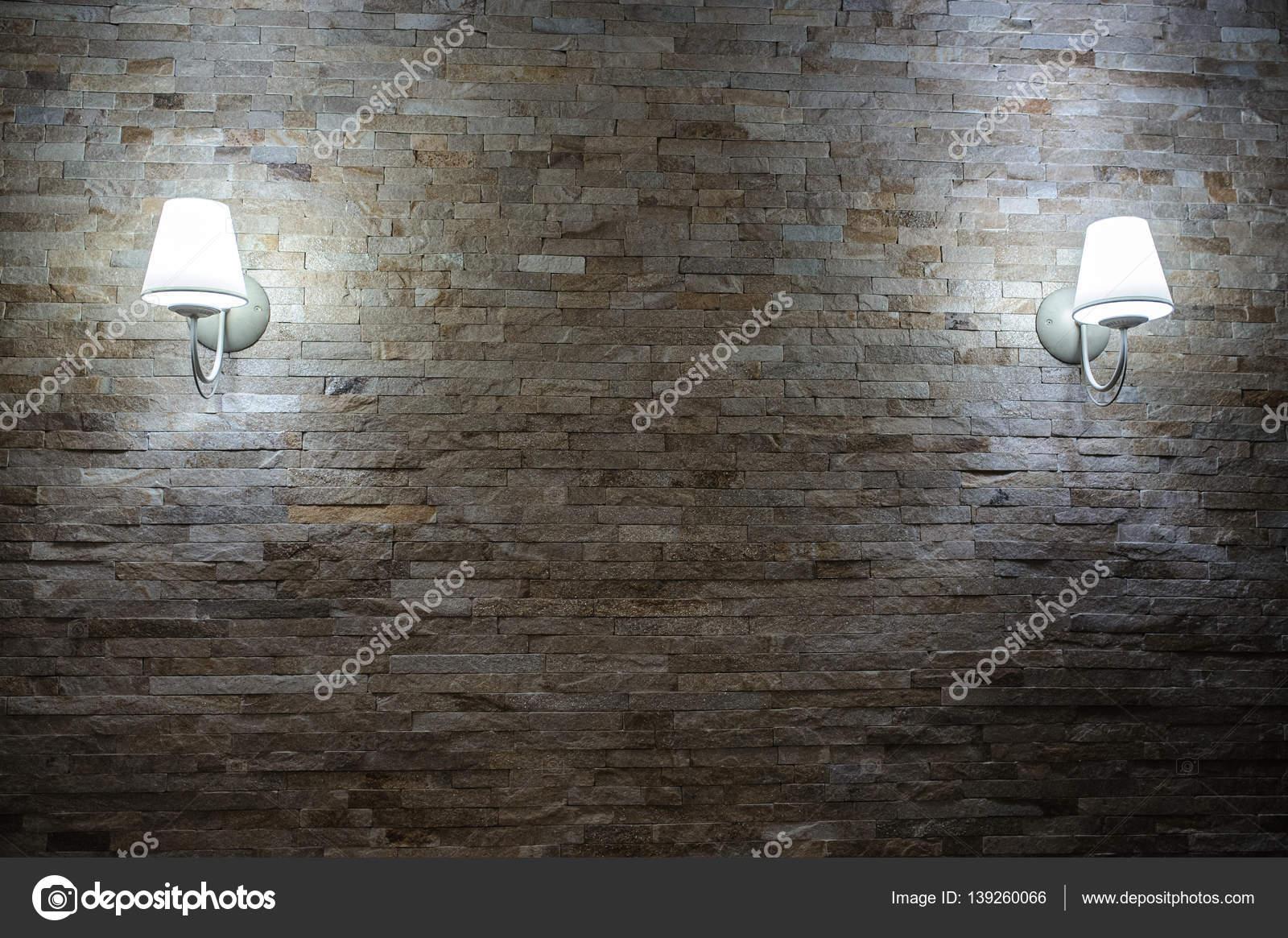 stein stein ziegel fliesen wand im alter mit lampe. Black Bedroom Furniture Sets. Home Design Ideas