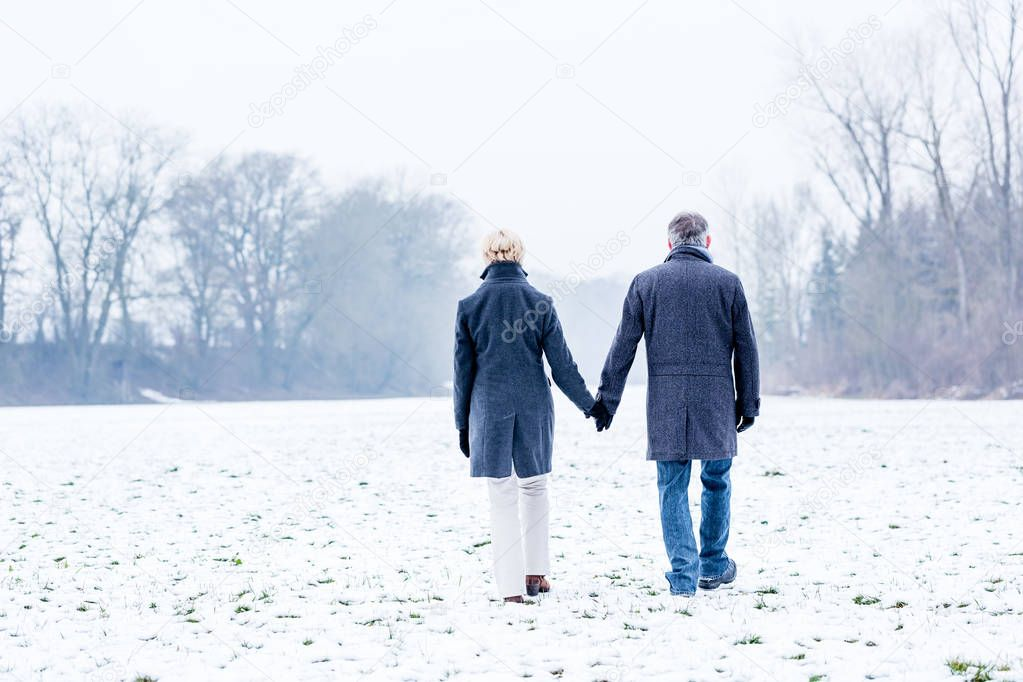 Senior couple having walk