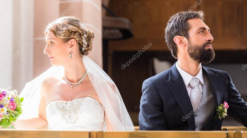 Bride and groom separating