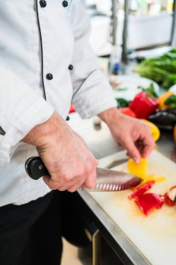 Chef cutting onions and vegetables