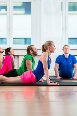 Recreational athletes doing yoga exercises in fitness gym