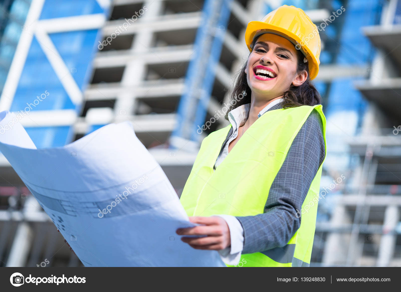 Female Civil Engineer Studying Drafts Visiting Construction Site U2014 Stock  Photo  Civil Engineer
