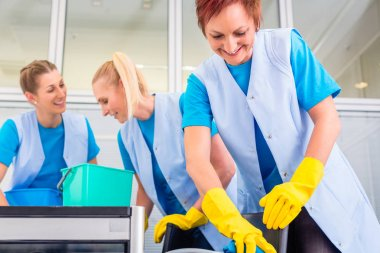 Cleaning ladies working in office