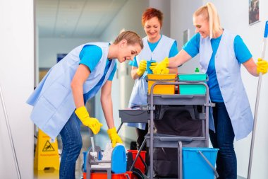 Team of cleaning ladies working