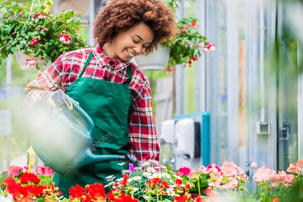 Beautiful young woman watering various potted houseplants in a m