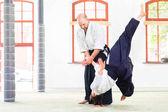 Fényképek Férfi és nő Aikido harcművészeti iskola elleni küzdelem