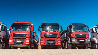 Trucks on premises of freight forwarding company