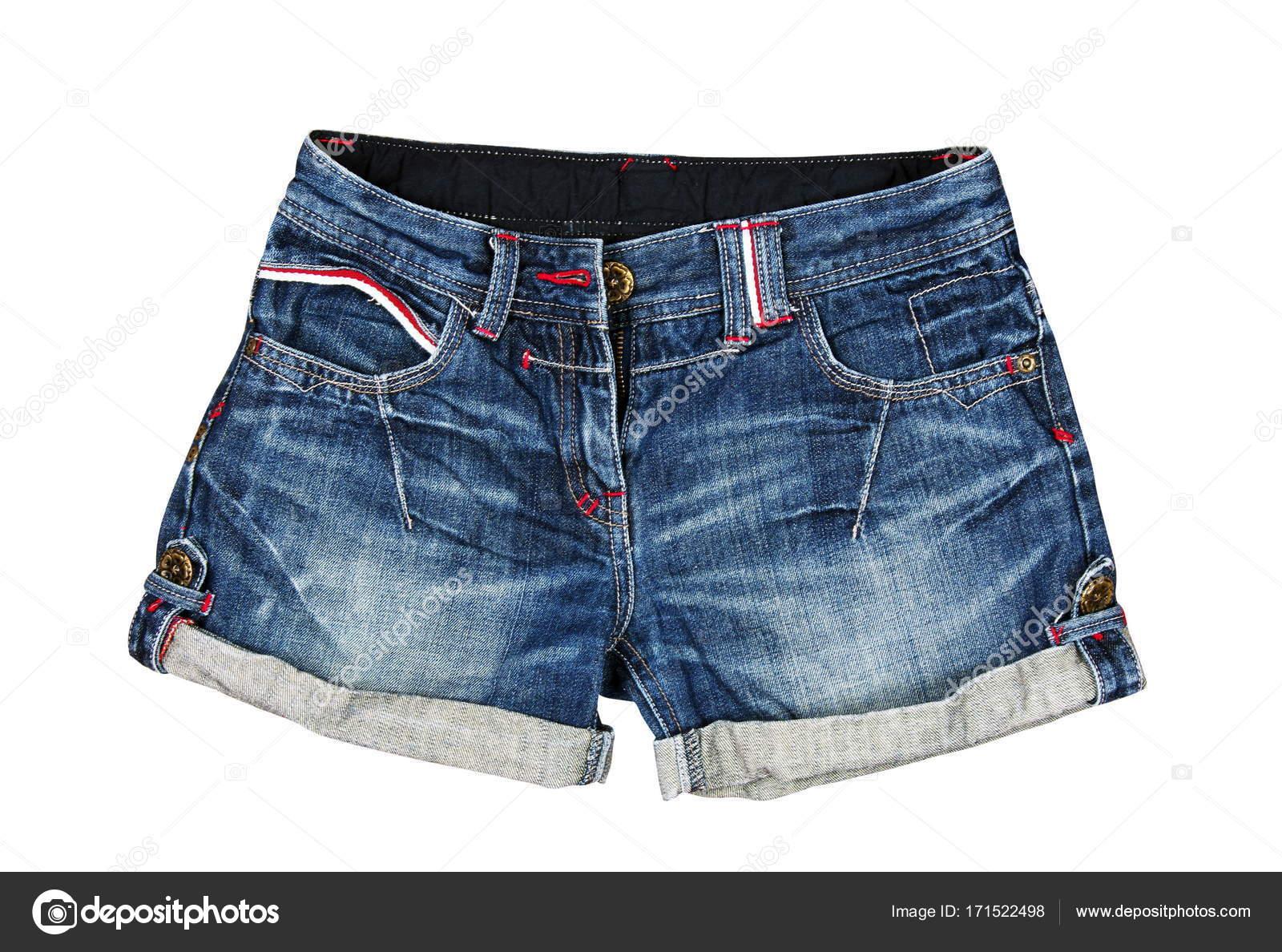 Boutique en ligne 5eb27 45aff Pantalones cortos de jeans en el blanco — Fotos de Stock ...