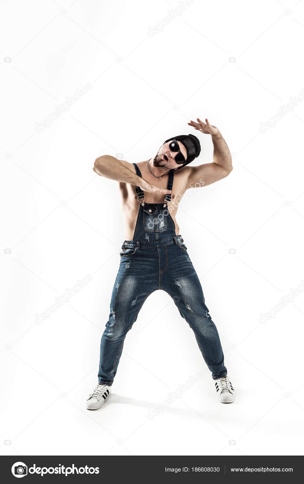 Mejor rapero bailando break dance .photo sobre un fondo claro — Foto de  Stock b9a52513eca