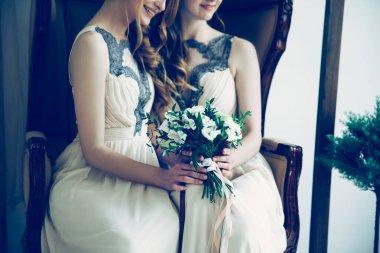 close up. bridesmaids with a wedding bouquet.