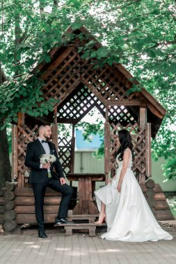 bride and groom standing near the gazebo in the Park