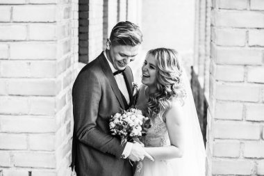 portrait of a happy couple of newlyweds. black and white photo