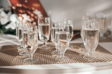close up. glasses of champagne on the holiday table.
