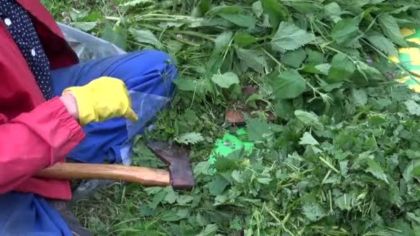 Zahradník sekání kopřiv