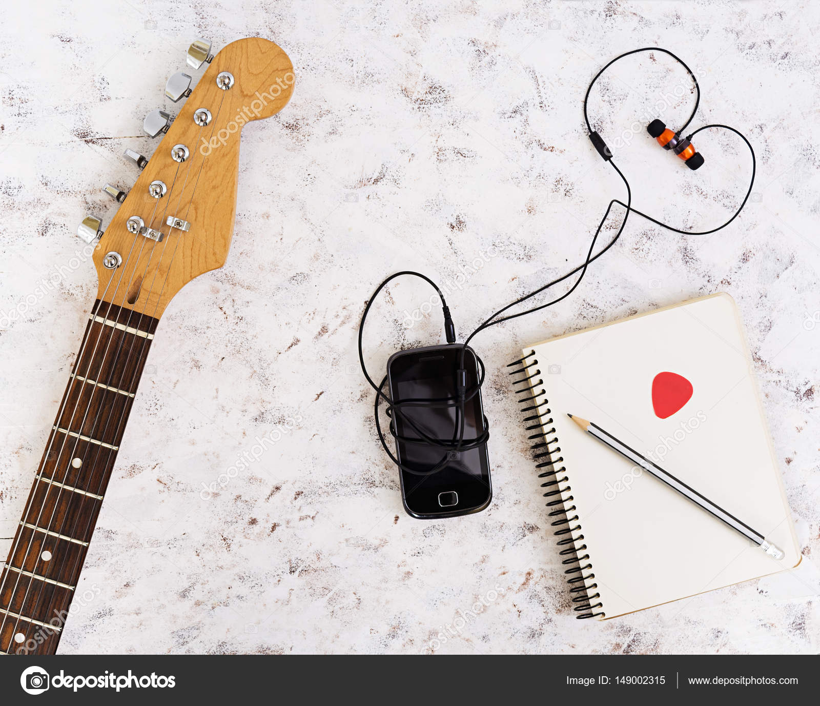 Music Stuff Guitar Pedal Headphone Mobile Phone On White To String A Guitarguitar Technique Electric Acoustic Background Top View Flat Lay Photo By Aeril