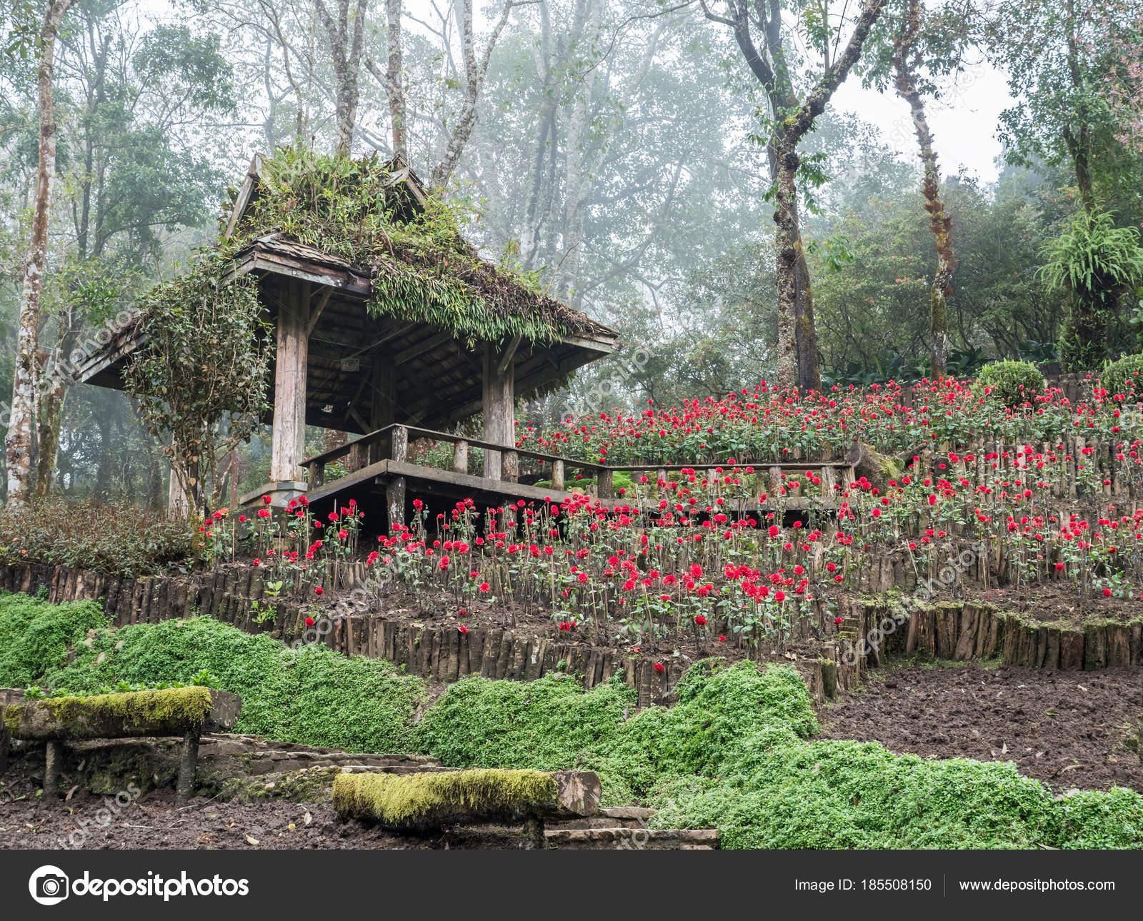 Padiglione Di Legno Con La Terrazza Nel Giardino Delle Rose