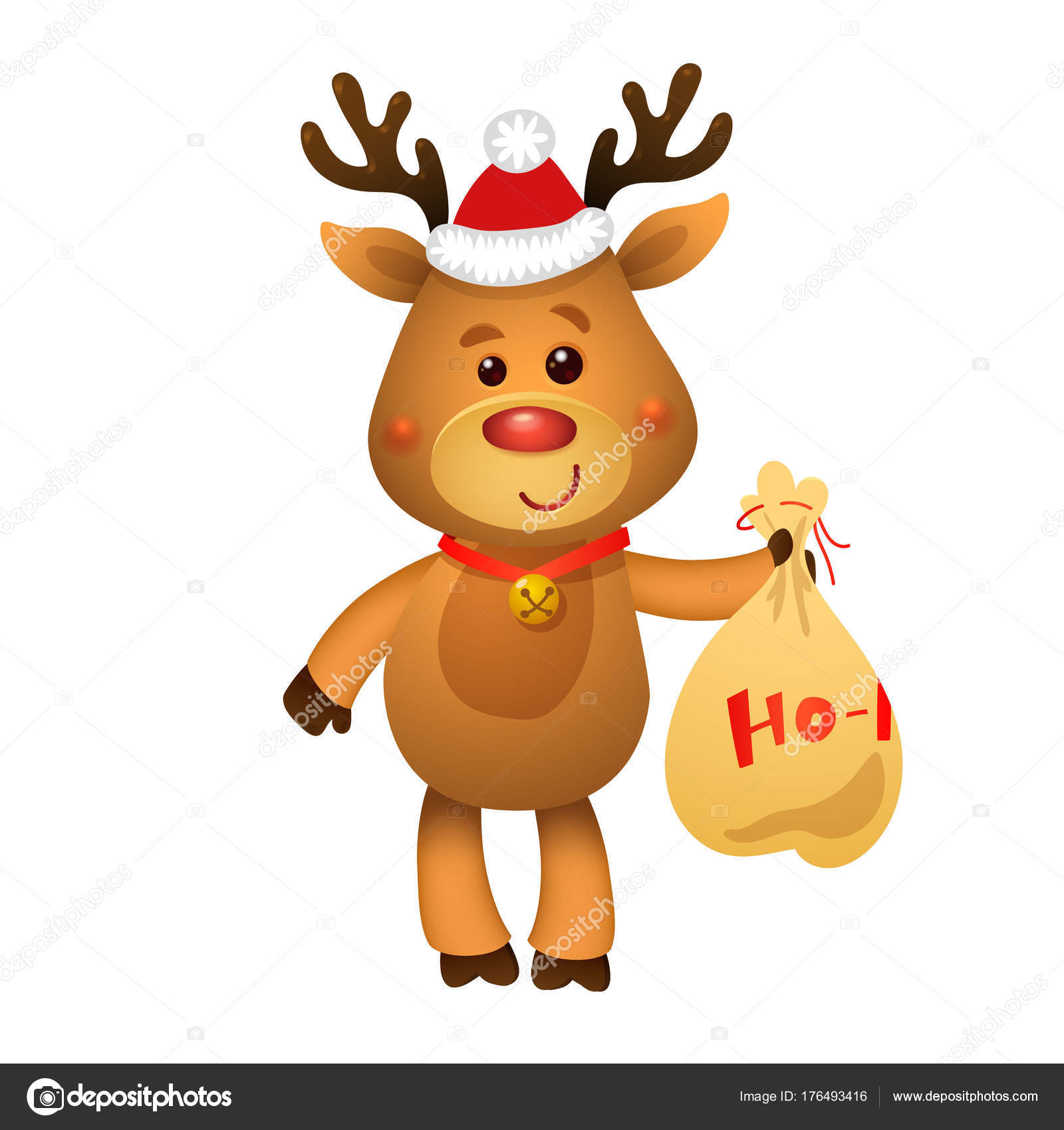 Rudolph La Renna Di Babbo Natale.Santa S Renna Rudolph E Regali Di Babbo Natale Immagini Vettoriali