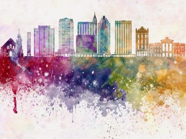 Raleigh V2 skyline in watercolor background
