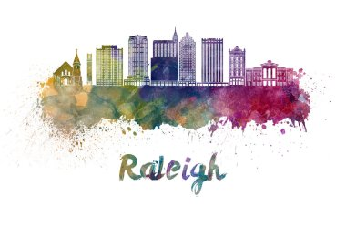 Raleigh V2 skyline in watercolor