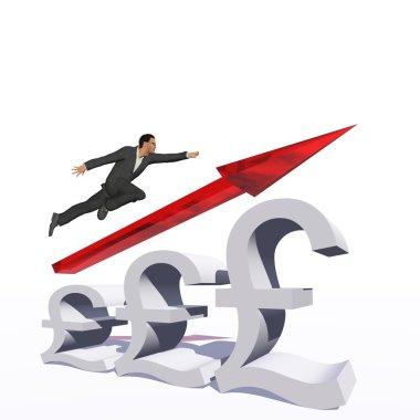 businessman jumping over an pound symbol