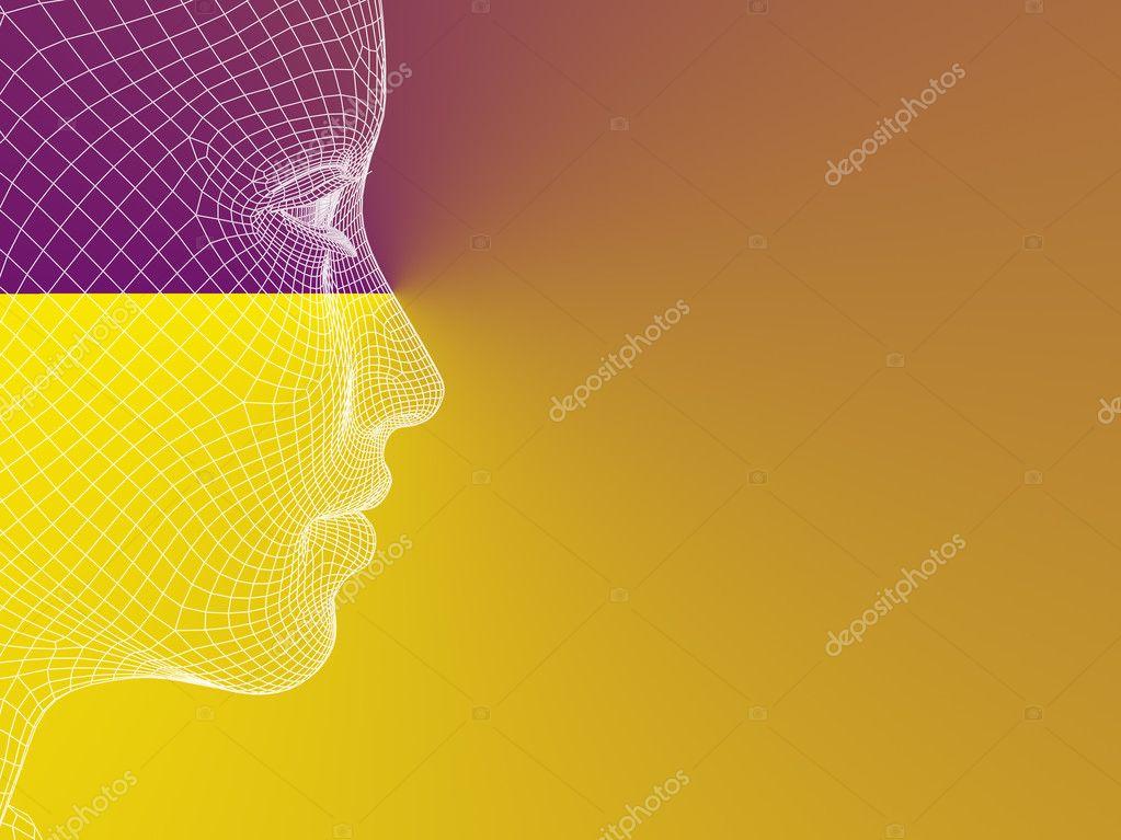 Drahtmodell junge menschlicher Kopf — Stockfoto © design36 #126570906