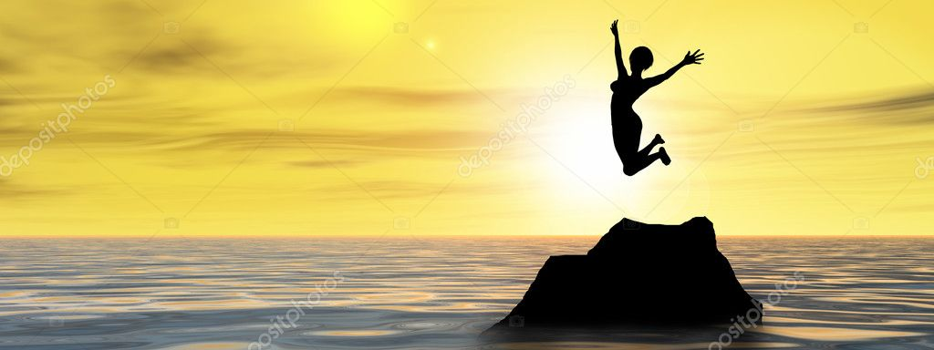 young woman  silhouette jumping