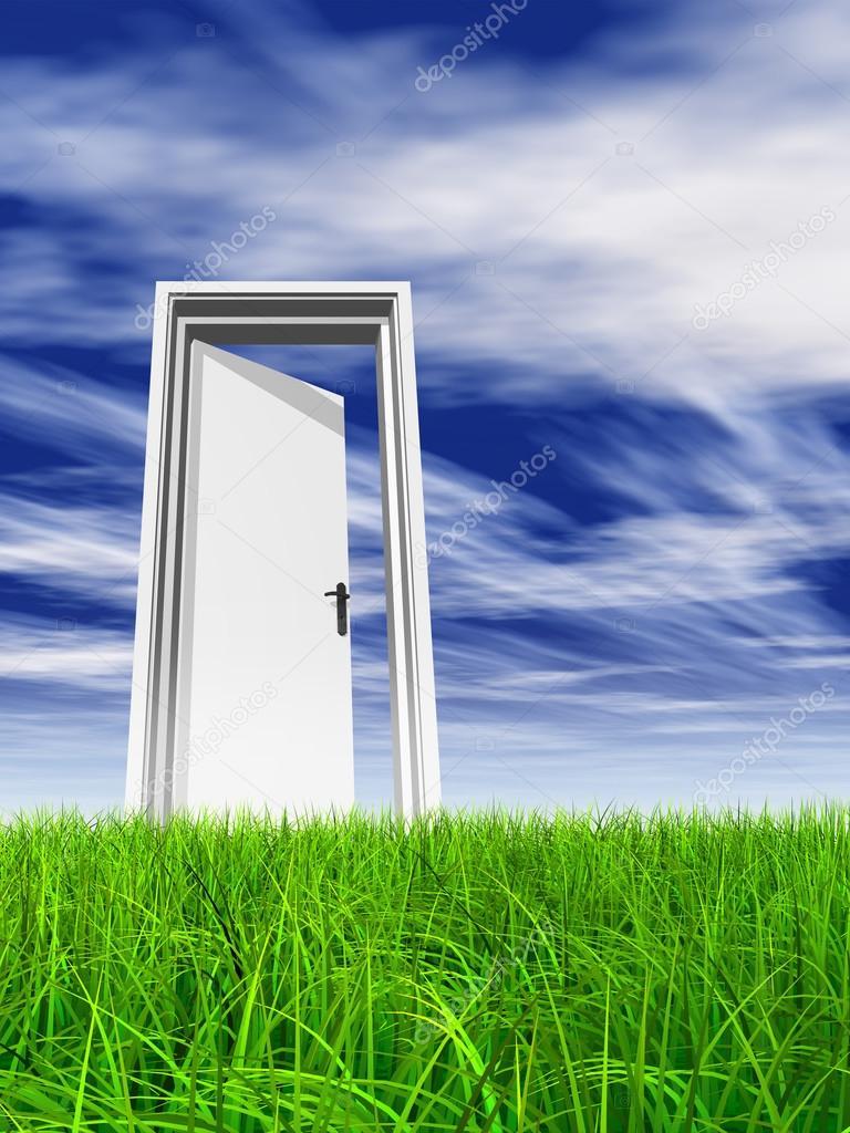 opened door at horizon