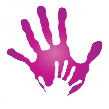Mother and child pink hand prints