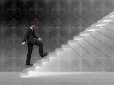businessman climbing on a stair