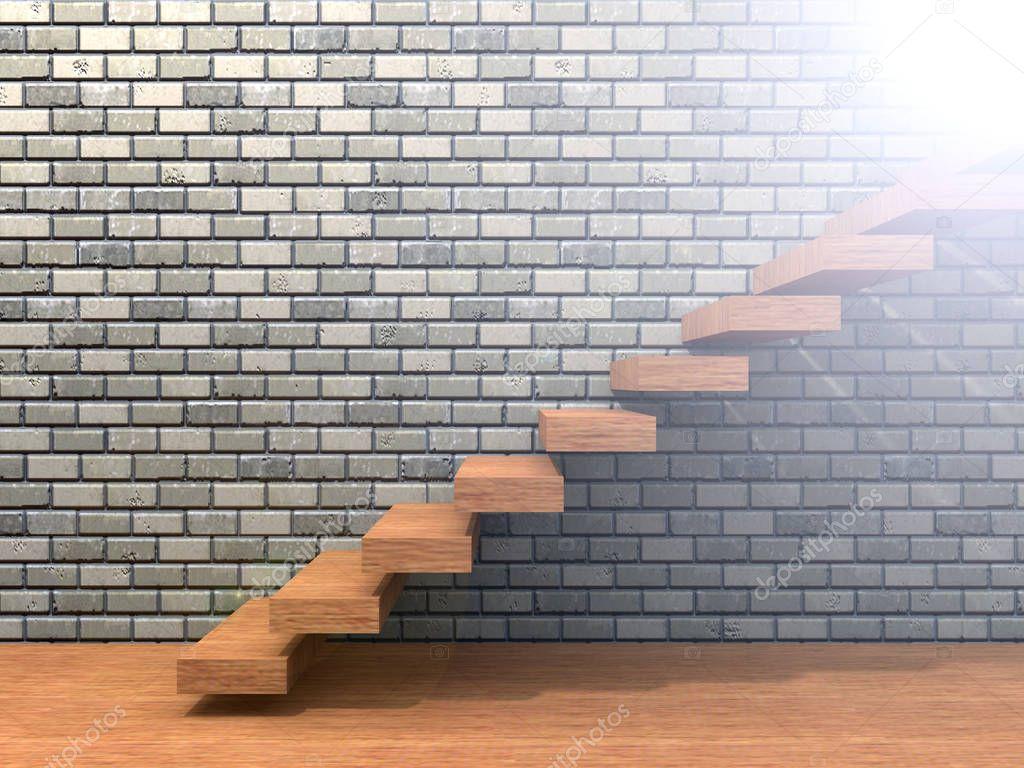 brown wood  wooden stair