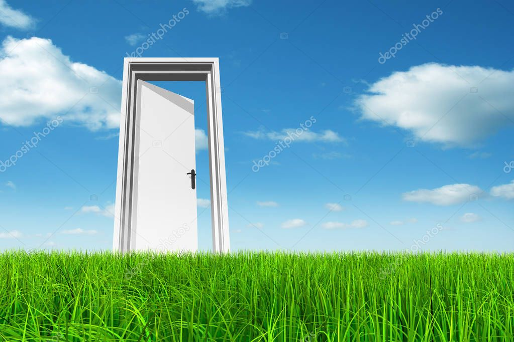 opened door at horizon