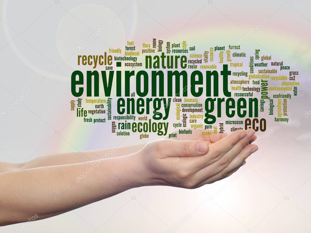 green ecology word cloud text