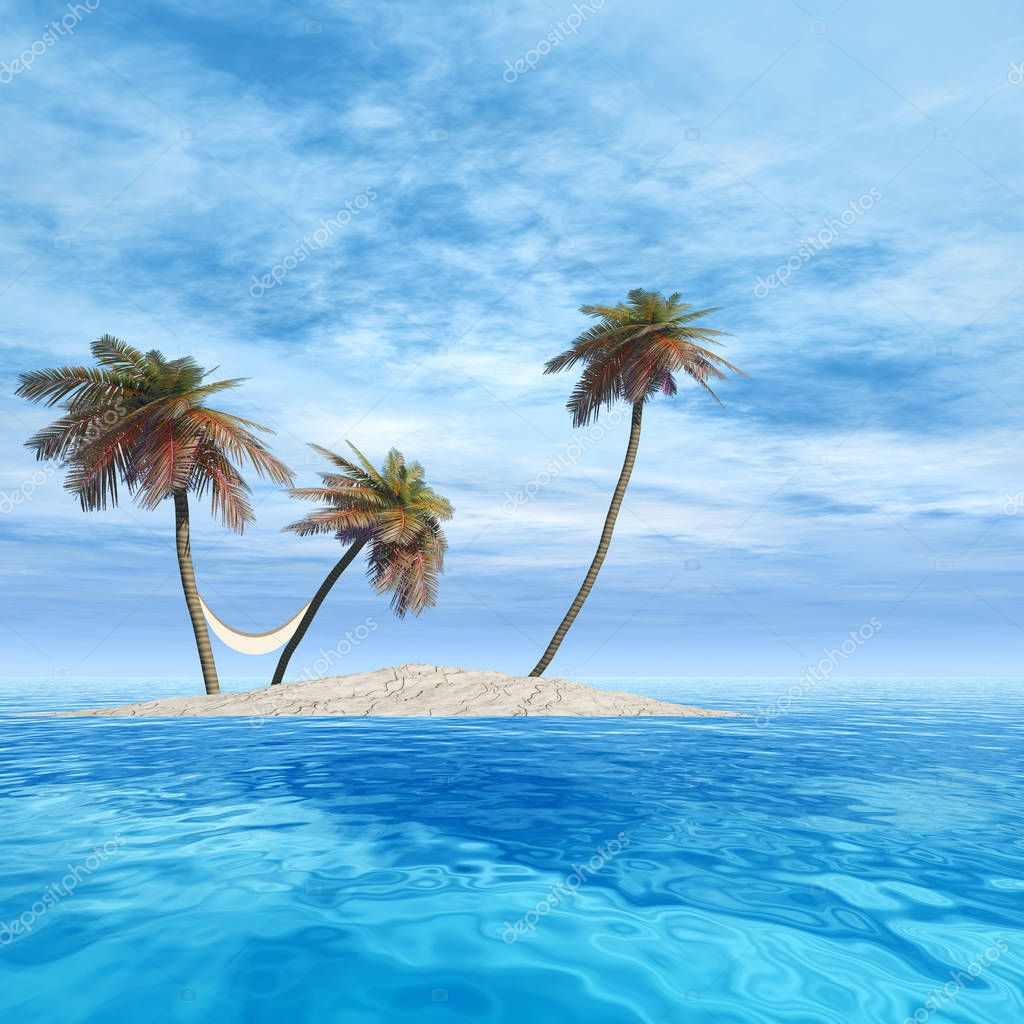 island with palm trees with a hammock