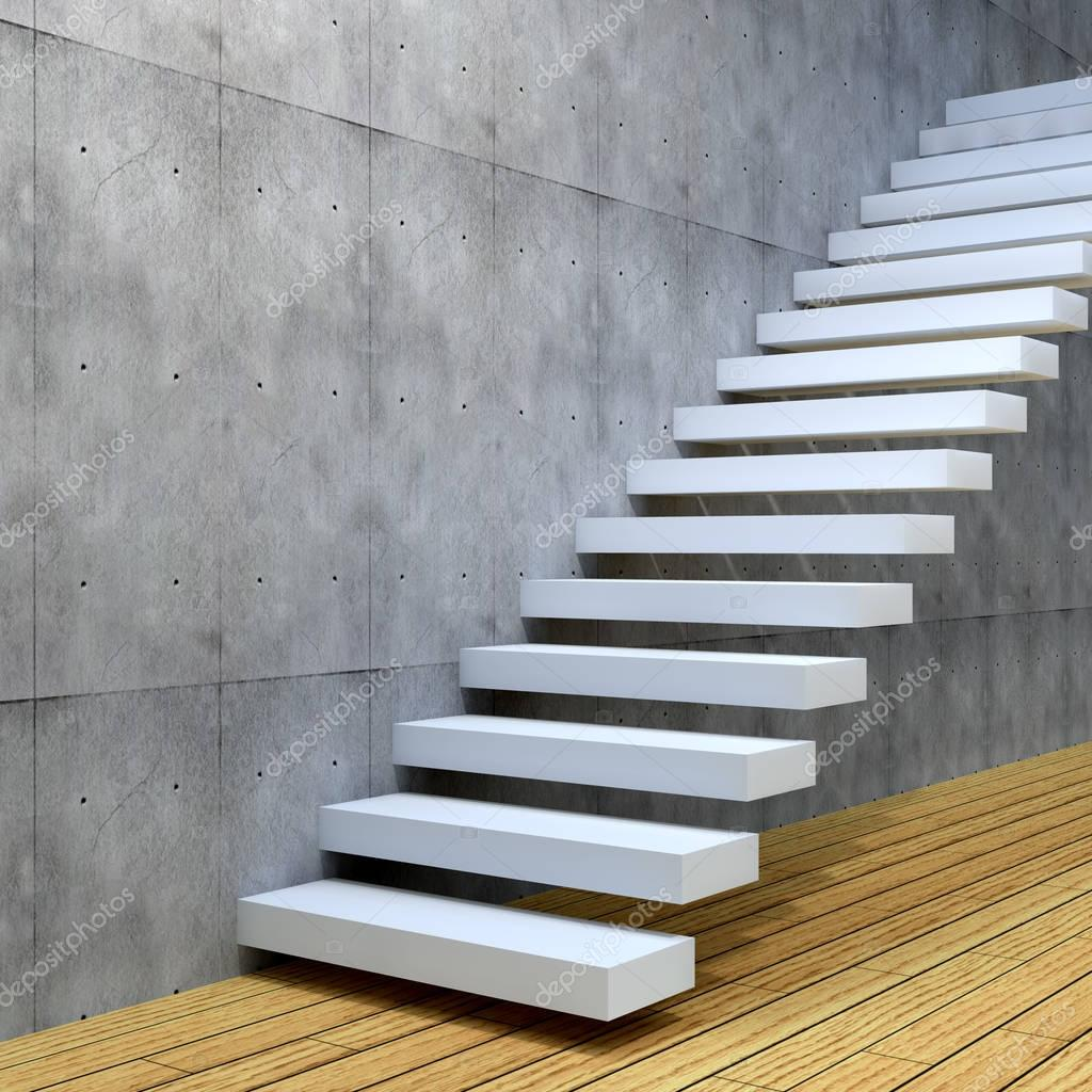 Concept Or Conceptual White Stone Or Concrete Stair Or Steps Near A Wall  Background With Wood Floor U2014 Photo By Design36